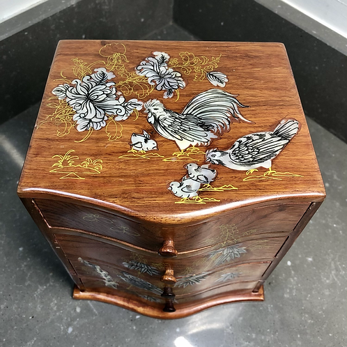 VINTAGE JEWELLERY DRAWERS WITH MOTHER OF PEARL INLAY
