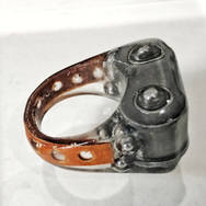 LEATHER & MOTORBIKE CHAIN LINK RING