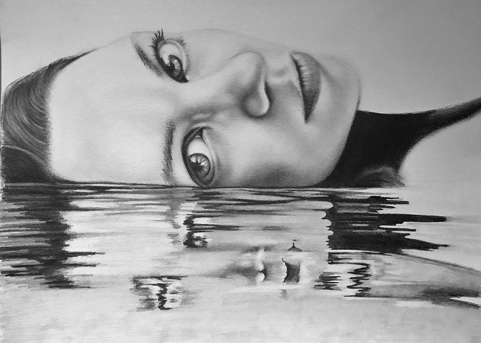 Beautiful pencil drawing of young lady lyingin water, with reflection