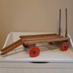 VINTAGE HANDMADE WOODEN TOY CART TROLLEY WAGON