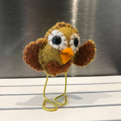 HANDMADE MINI FELT OWL ON PAPERCLIP LEGS