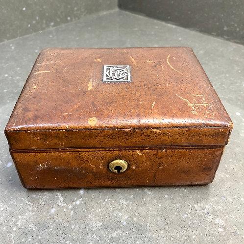 ART NOUVEAU TAN LEATHER JEWELLERY BOX