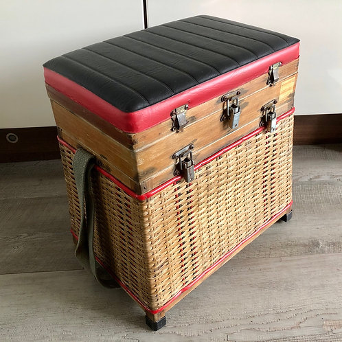 VINTAGE WICKER AND WOOD FISHING TACKLE SEAT BOX