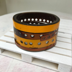 RESIN & HAND PUNCHED LEATHER TEALIGHT HOLDER
