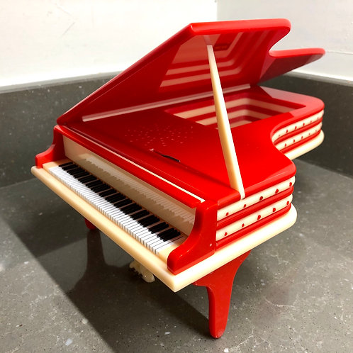 VINTAGE HAND CRAFTED RED PIANO SHAPED MUSIC BOX