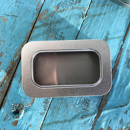 RECTANGLE GIFT TIN WITH HINGED CLEAR LID