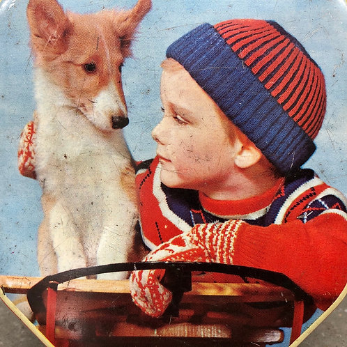 VINTAGE TOFFEE TIN. BOY AND HIS DOG