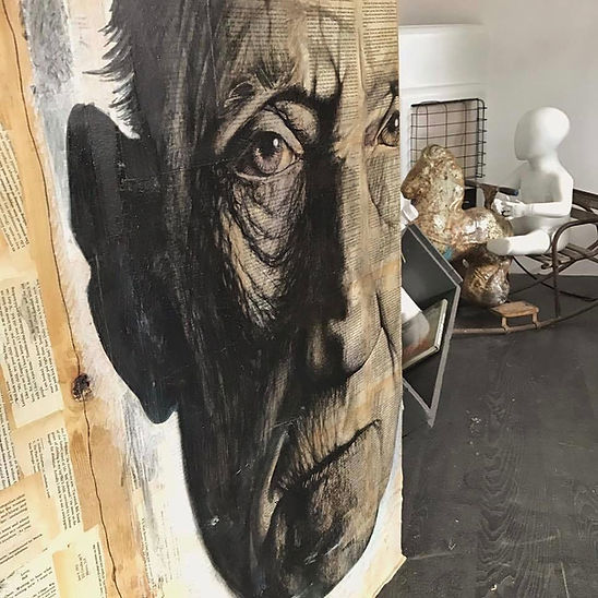 Large marker pen portrait of William S. Burroughs by Derby artist Debra Yates