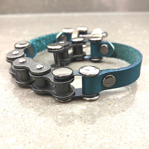 teal leather strap