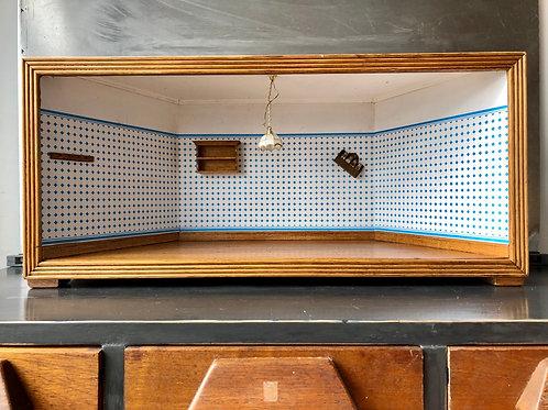 LARGE OOAK HARDWOOD FLOOR EMPTY SHADOW BOX DIORAMA