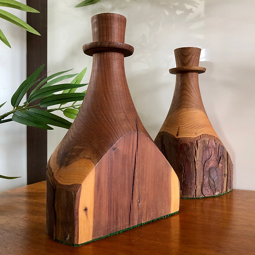HANDMADE WOODEN CANDLE STICK HOLDERS