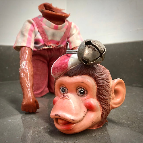 VINTAGE 1960s TERRIFYING RUBBER MONKEY PIGGY BANK