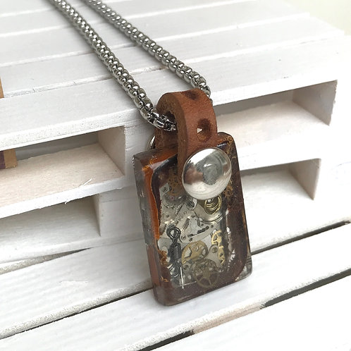 HANDMADE STEAMPUNK SMALL RECTANGLE RESIN PENDANT WITH LEATHER BALE