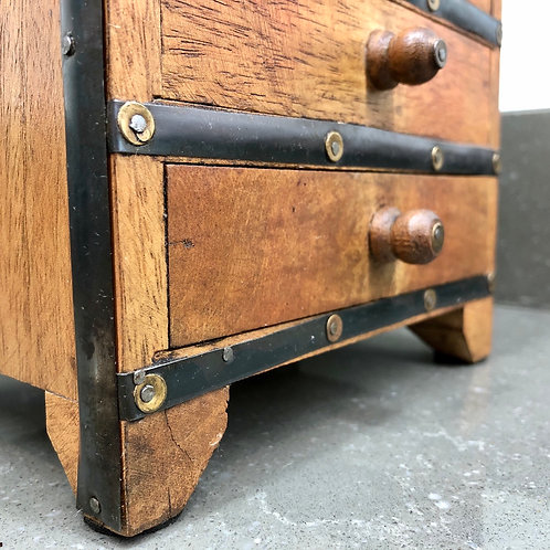 INDIAN HARDWOOD MINIATURE CHEST OF DRAWERS