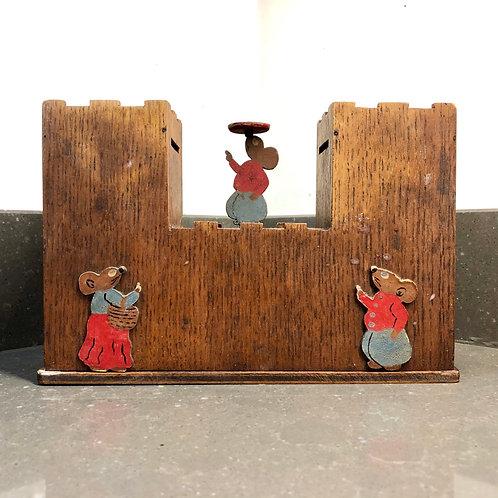 VINTAGE WOODEN MONEY BOX. MICE ON A CASTLE