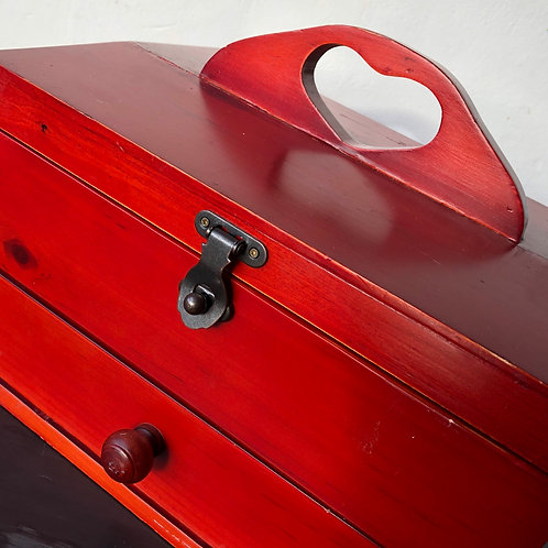 LARGE RED WOODEN SEWING BOX