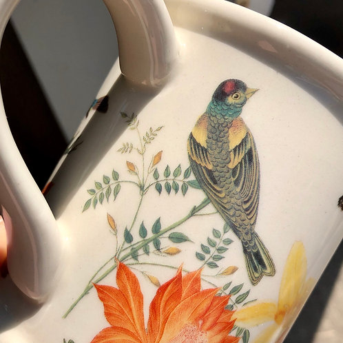 VINTAGE CERAMIC RHS WATERING CAN WITH FLOWERS AND BIRDS