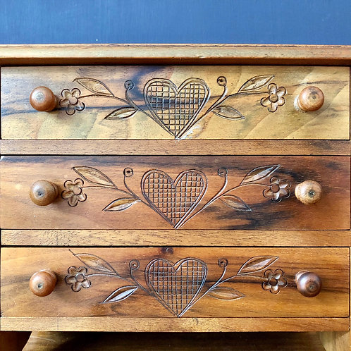 VINTAGE MINIATURE CARVED CHEST OF DRAWERS