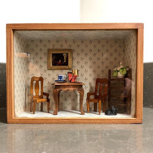 MINIATURE DINING ROOM SHADOW BOX DIORAMA