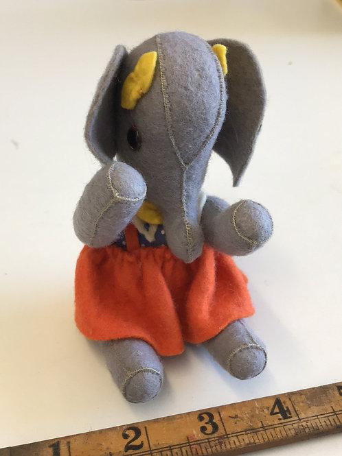 VINTAGE MINI HANDMADE FELT ELEPHANT