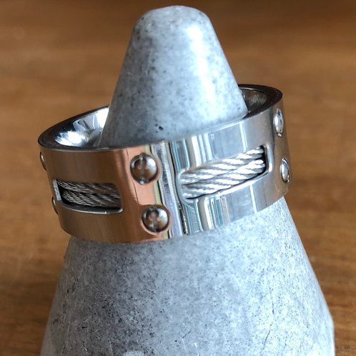 MEN'S LARGE STAINLESS STEEL WIRE RING