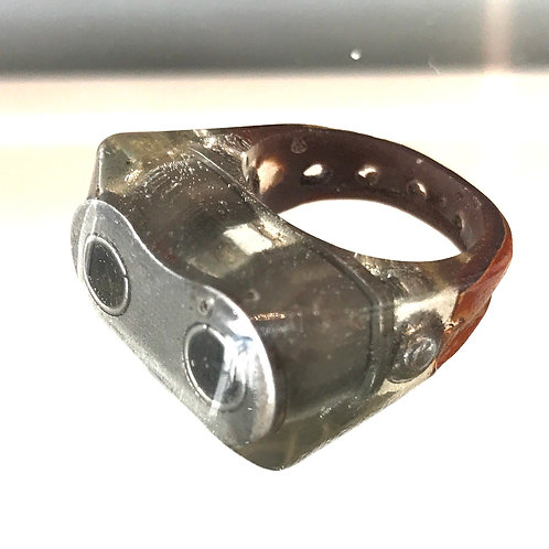 HANDMADE MOTORBIKE AND LEATHER RESIN RING SIZE P