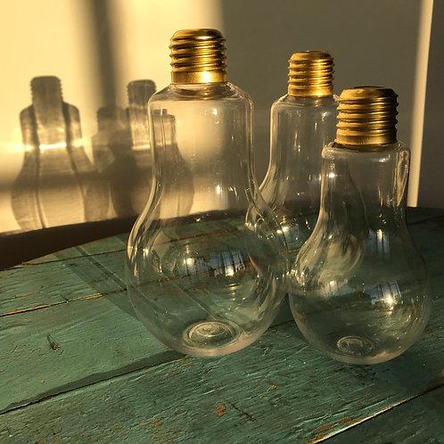 SET OF 3 PLASTIC BULB SHAPED WATER DRINKING BOTTLES