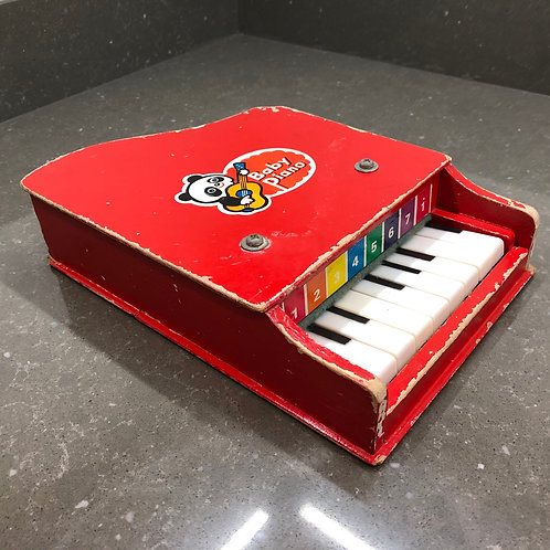 VINTAGE 1950s WOODEN TOY BABY PIANO