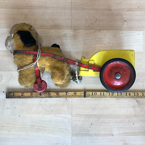 VINTAGE CHILTERN PULL-A-LONG DOG AND CART