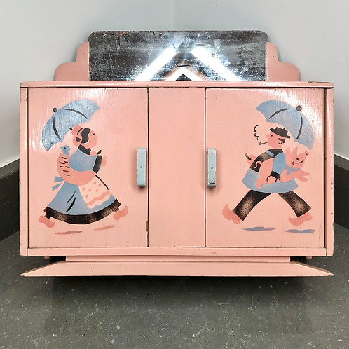 VINTAGE HANDMADE MINIATURE DOLL'S DRESSER. Art Deco