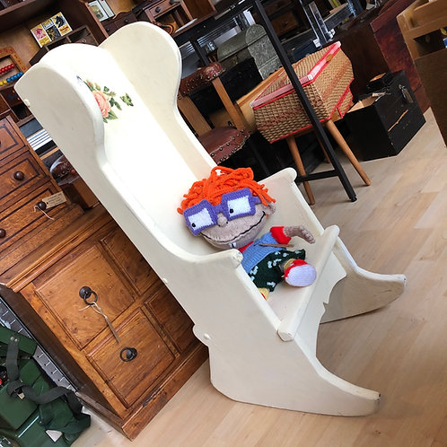 ANTIQUE HIGH BACK CHILD'S ROCKING CHAIR