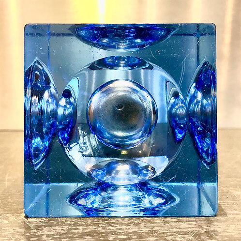 VINTAGE MIDCENTURY MURANO GLASS TABLE LIGHTER IN BLUE