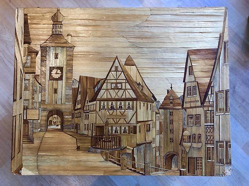 LARGE VINTAGE MARQUETRY CITYSCAPE ARTWORK