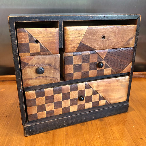VINTAGE ART DECO MARQUETRY MINIATURE APPRENTICE PIECE DRAWERS