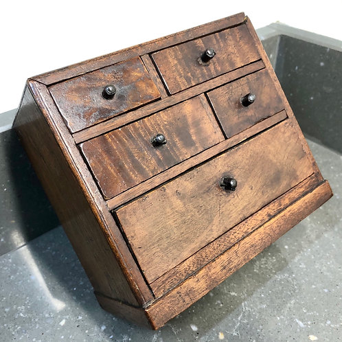ANTIQUE 1880 SIGNED APPRENTICE PIECE MINIATURE CHEST OF DRAWERS