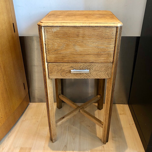 VINTAGE ART DECO WOODEN SEWING BOX ON LEGS