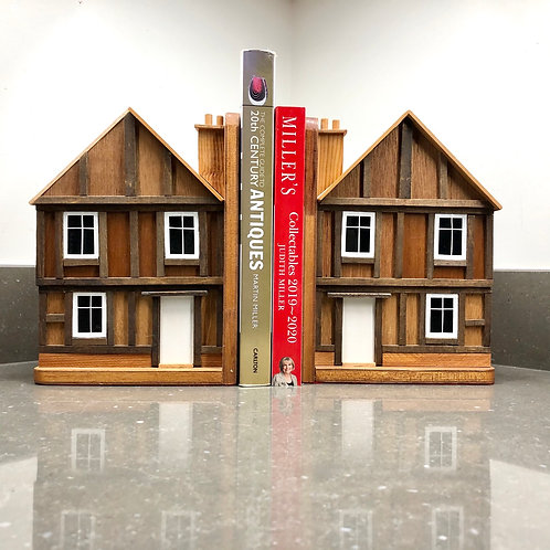 VINTAGE NOVELTY HOUSE SHAPED BOOKENDS WITH STORAGE