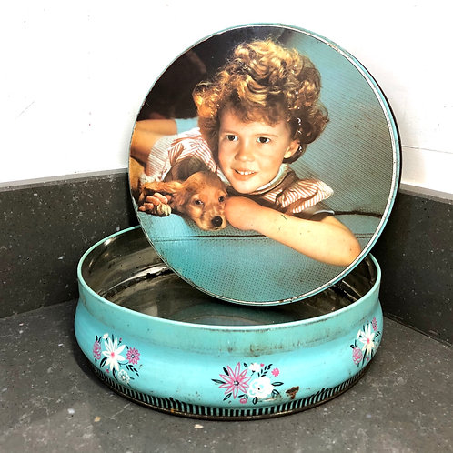 VINTAGE JACOB'S ROUND TIN. GIRL WITH PUPPY