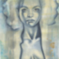 Original painting of young girl with her jacket open on rustic paper.