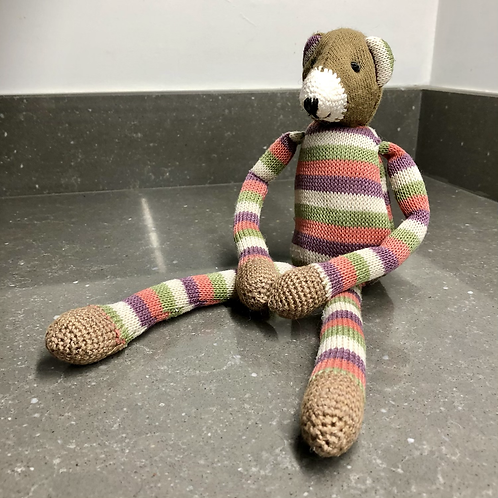 VINTAGE KNITTED BEAR WITH SUPER LONG LEGS