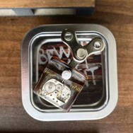 STEAMPUNK SMALL SQUARE RESIN AND LEATHER PENDANT WITH TIN
