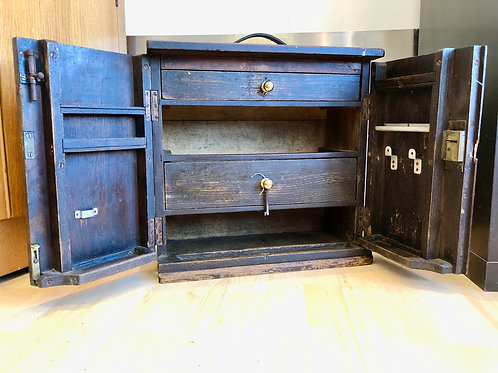 VINTAGE WOODEN ENGINEER'S TOOL CABINET WITH KEY