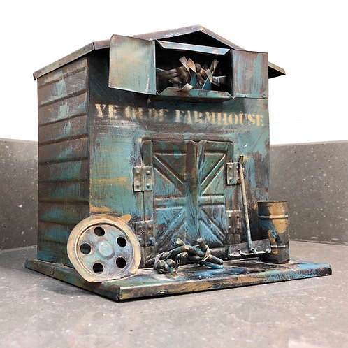 VINTAGE STYLE TIN SHED MONEY BANK