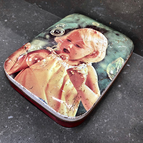 VINTAGE BLUEBIRD CONFECTIONERY TIN, GIRL BLOWING BUBBLES