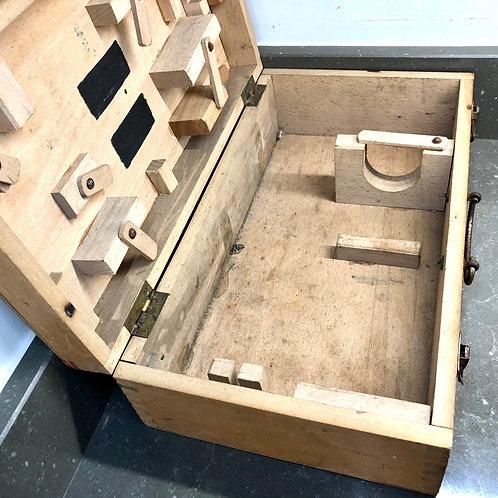 VINTAGE WOODEN WELDER'S CASE. Suitcase style toolbox