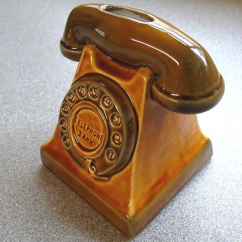 1960s SZEILER STUDIO POTTERY TELEPHONE MONEY BANK