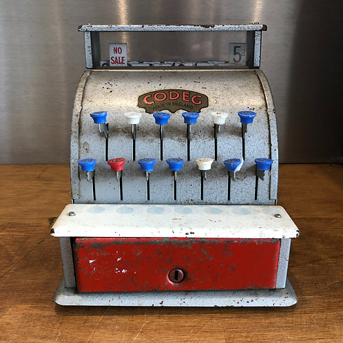VINTAGE 1950s CODEG METAL CASH REGISTER