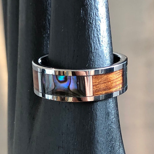 TITANIUM & SHELL INLAY RING. Size S/T