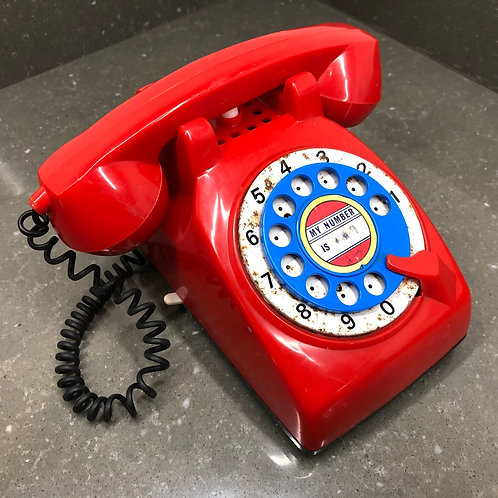 VINTAGE 1960s RED BLUE TOY TELEPHONE
