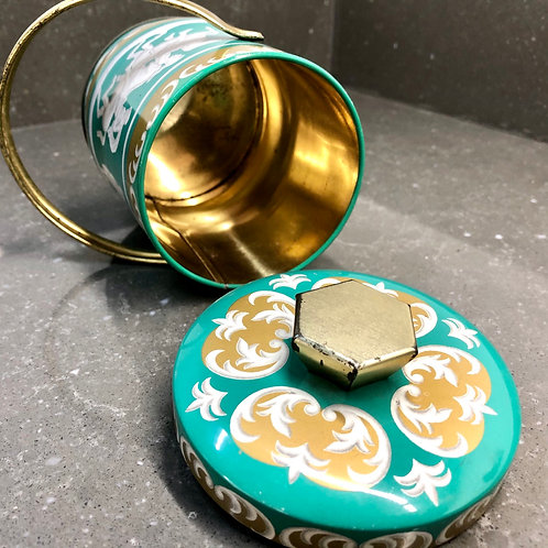 VINTAGE RILEY'S TOFFEE TIN. Gold and turquoise